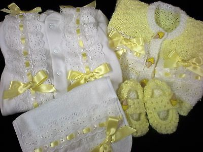 Romany Blinged Baby 4 Piece Layette Set - Lemon/White- Size Newborn
