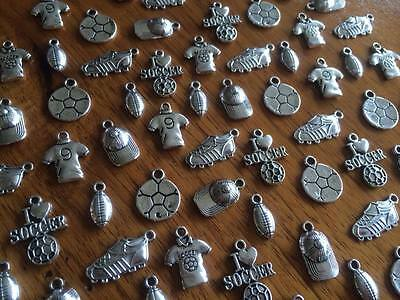 1-100 Silver Tone Sport Charms for Scrapbooking & Cardmaking