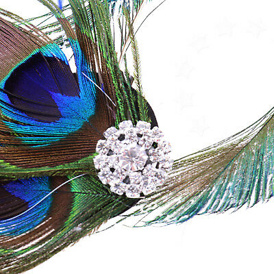 Retro Headwear Peacock Feather Fascinator Wedding Hair Clip Bridal Dance Party