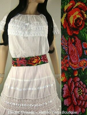 Native Mexican HUICHOL ART Embroidered REDBIRDS ROSES Beaded SEED BEAD BELT M/ L