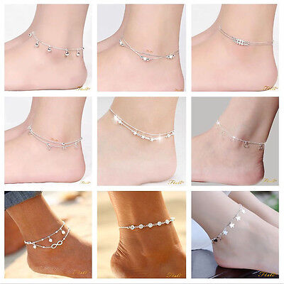 Girls Solid Real 925 Sterling Silver Anklet Ankle Bracelet Foot Jewelry Beach UK