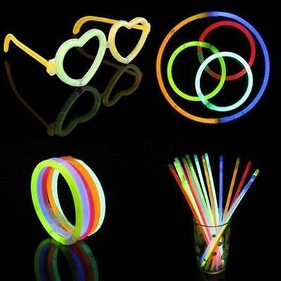 100Pcs Glow Sticks Bracelets Necklaces Fluorescent Neon Party Wedding Magic new