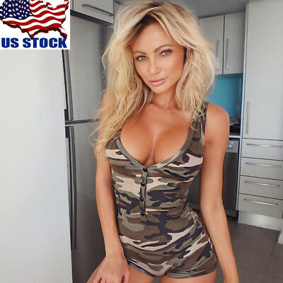 Womens Ladies Sexy V Neck Camouflage Vests Bodysuit Bodycon  Jumpsuits Rompers