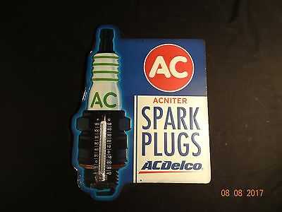 Nice A C Spark Plug Thermometer Advertising Tin Sign