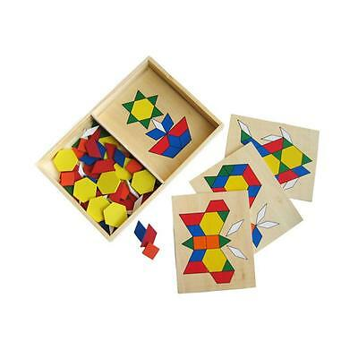 NEW Wooden Pattern Blocks Learning  Educational Toy Kids Childrens Toys