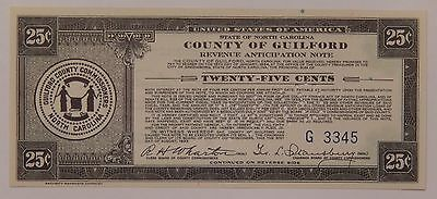 25 Cent Note State of North Carolina County of Guilford Revenue Anticipation NR
