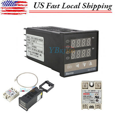 Digital PID Temperature Control Controller Thermostat SSR + Probe Sensor+40A SSR