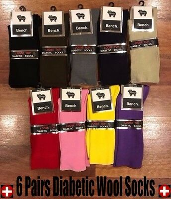 6 Pairs 90% Merino Wool Medical Circulation Diabetic Loose Top Socks Size 11-14