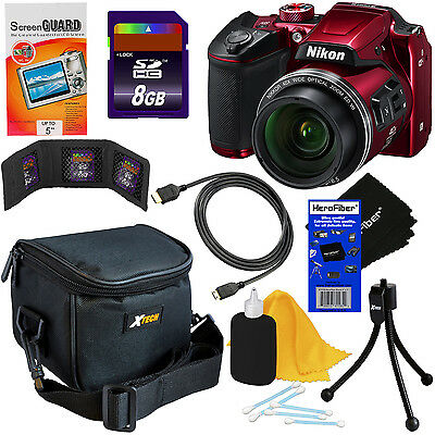 Nikon COOLPIX B500 16MP Wi-Fi Digital Camera w/40x Zoom (Red) + 8pc 8GB Acc Kit