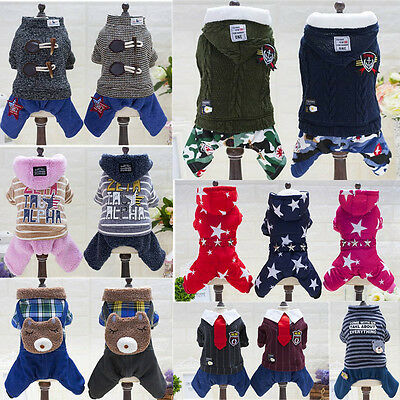 New Various Pet Puppy Dog Cat Jacket Warm Jumpsuit Clothes Winter Coat Apparel