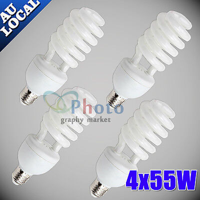 4X55W Photo Studio Energy Saving Light Bulbs Compact Fluorescent Lamp E27 5500K
