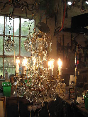 A Good Birdcage French  8 Branch Chandelier Crystal Drops C 1940 Vintage  /3953
