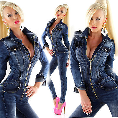 f1e6c8f307 Women Clubbing Jeans Jumpsuit Ladies Party Skinny Denim Overall Size 8 10  12 14