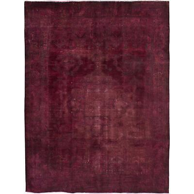 "Lovable Vintage Persian Overdyed Burgundy Rug- 7'10"" x 10'3"""