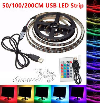 USB 5V 1M ~ 5M 5050 LED Strip RGB Light TV Back Lighting Kit + Remote Controller