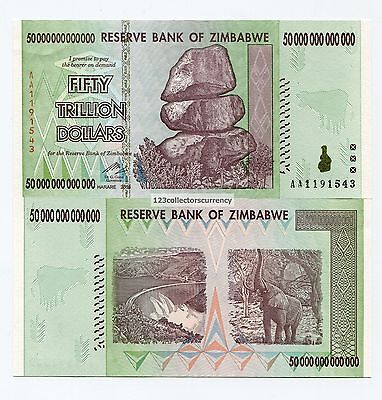 Zimbabwe 50 Trillion 2008 AA Uncirculated Banknote Part of 100 Trillion Series