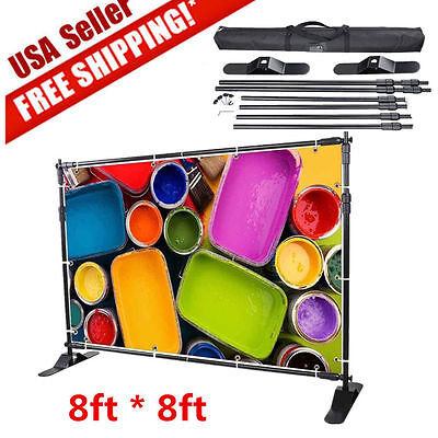 8'x8' Banner Stand Adjustable TelescopicTrade Show Step Repeat Backdrop AL