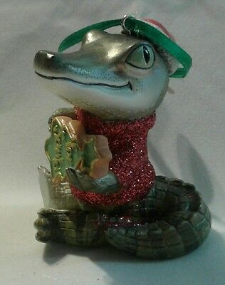 """Danbury Mint """"Crocodile"""" from The Baby Animal Ornaments Christmas Collection"""