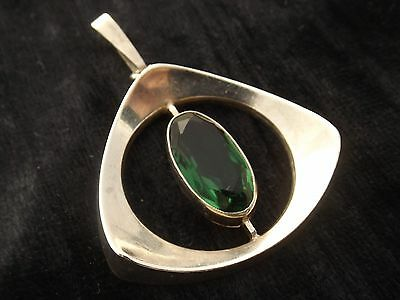 Silver Pendant with green stone  by IVAR T HOLTH or HOLT of Norway  830 silver