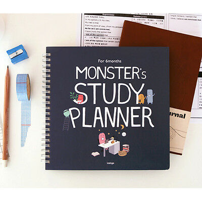 For 6 Months Monster's Study Planner Monthly Weekly Daily Academic Planner