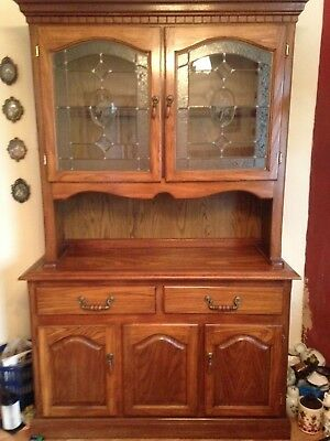 4ft Oak Glazed Display  Dresser