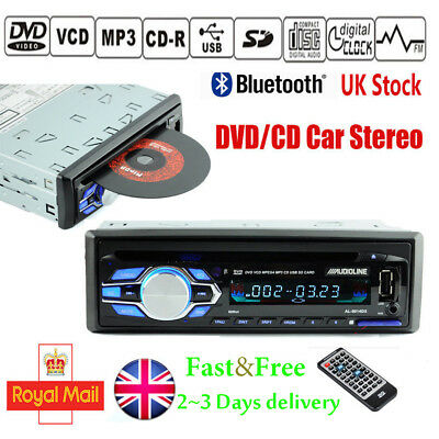 I DIN Car Stereo Radio CD/DVD Bluetooth In Dash MP3 Player USB/FM/Handsfree