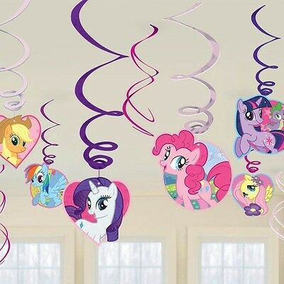 My Little Pony Birthday Party Supplies Foil Swirl Hanging Decorations 12 Pieces