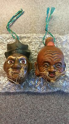 Set Of 2 Signed Vintage Japanese Asian Man Face Head Clay Pottery Bells