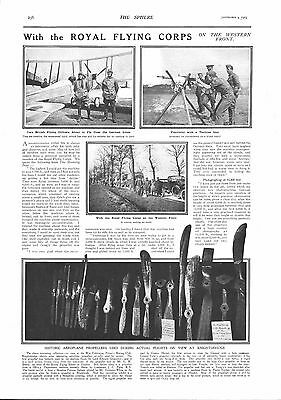 1915 Antique Print - Ww1- With The Royal Flying Corps On The Western Front