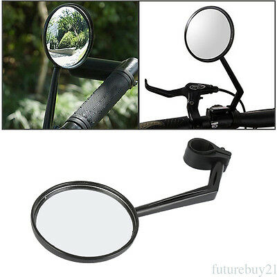"Universal Black Motorcycle Bicycle 7/8"" 22-25mm Bar End Side Rearview Mirrors"