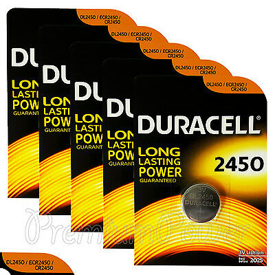 5 x Duracell Lithium CR2450 3V Coin Cell batteries DL2450 ERC2450 EXP:2025