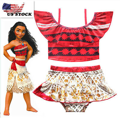 Cute Girls Toddlers Moana Swimsuit Swimwear 2pc Set Bathing suit Bikini K81