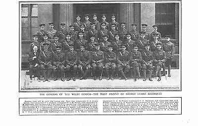 1915 Antique Print - Ww1- The Welsh Guards Officers - Named