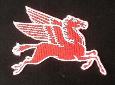 Red Pegasus Flying Horse Mobil Oil Gas Gasoline Petrol Badge Iron Sew On Patch 1