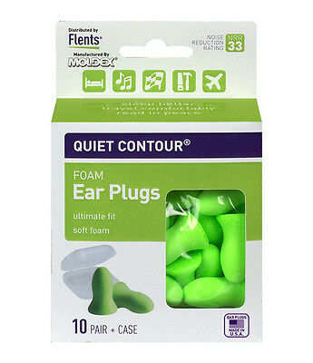Flents Quiet Contour Adult Ear Plugs 10 PAIR  WITH CLEAR CASE