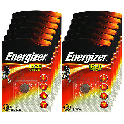 12 x Energizer Lithium CR1620 batteries 3V Coin cell DL1620 BR1620 EXP:2023