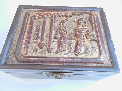 "Vintage Chinese Wooden Box 8""x6""x4"""