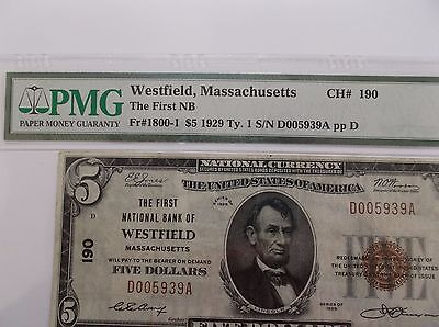 "Series 1929 $5 ""NATIONAL"" NICE NAME  Westfield Mass. !!! Hometown?"