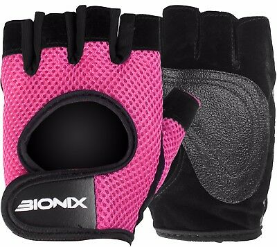 Weight Lifting Women Gym Gloves Ladies Pink Fitness Wrist Straps Leather Padded