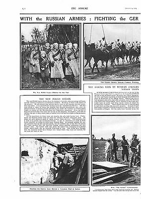 1915 Antique Print - Ww1- With The Russian Armies, Eastern Front, 2 Pages