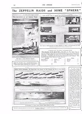 1915 Antique Print - Ww1- The Zeppelin Raids And Some Prophecies, 2 Pages,map