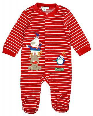 Baby Boys Girls Winter Wonderland Xmas Stripe Velour Sleepsuit Newborn - 6 Month