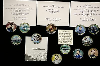 Kennedy Half Dollars Civil War Coin Collection 12 Colorized Key People & Battles