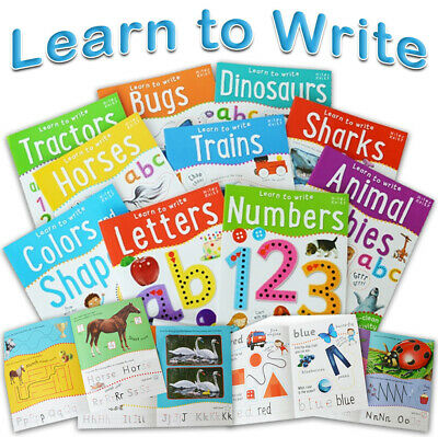 Wipe Clean Learn To Write 10 Books Collection Set Alphabets Numbers Phonics NEW
