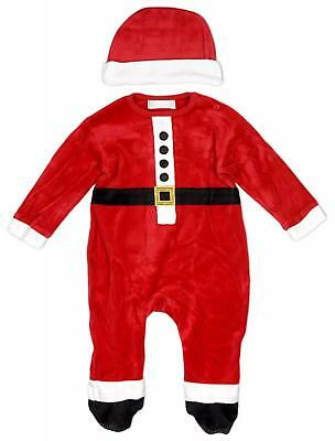 Baby Boys Xmas Santa Costume Velour Romper & Hat Set Newborn to 9 Months