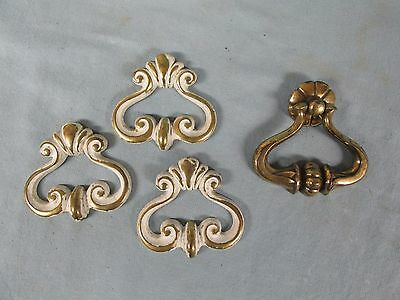 Vintage Lot 4 Brass Provincial Style Drawer Handles 3 Painted 1 Drop Pull Lot 66