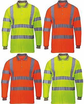 Hi Viz High Visibility Polo Long Sleeve Reflective Tape Security Safety Work Top