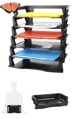 Office Desk Stacking Paper A4 Documents  Folders Organizer  Plastic  6 Pack Tray