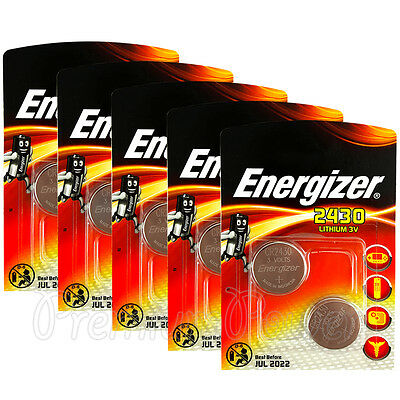 10 x Energizer Lithium CR2430 batteries 3V Coin cell ERC2430 DL2430 Pack of 2