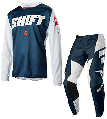 Shift Mens Navy Blue White Label Ninety Seven Dirt Bike Jersey & Pants Combo